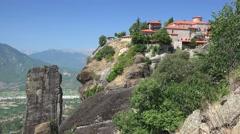 Orthodox monasteries on the top of Meteora. Monastery of Great Meteoron. Stock Footage