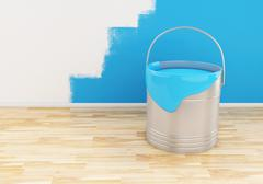 3d Full bucket of paint color blue. - stock illustration