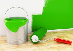 3d Full paint bucket with paint brush and roller. Stock Illustration