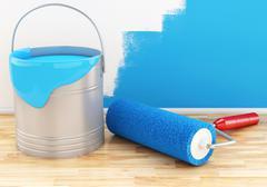 3d Full paint bucket with roller. Stock Illustration