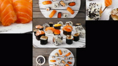 Dishes of Sushi and Sashimi, collage. Multiscreen Stock Footage