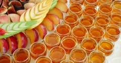 Buffet reception fruit wines champagne Stock Footage