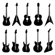 big set of acoustic and electric guitars - stock illustration