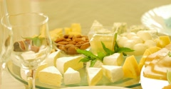 Different kinds of cheese on glass background Stock Footage