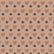 Love Coffee Beans Seamless Pattern Stock Illustration