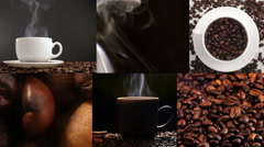 Cup with hot drink and roasted coffee beans, collage. Multiscreen Stock Footage