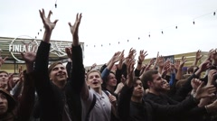 Crowd of people catch vials from stage. Event. Festival. Audience. Happiness Stock Footage
