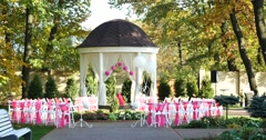 Beautiful outdoor place for wedding ceremony Stock Footage