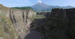 Aerial volcano chasm fly-through Mount Merapi (Gunung Merapi) Stock Footage