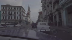 In car driving through Old Havana Stock Footage