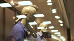 Sale, consumerism concept, man in suit at shopping window at wear store in mall Stock Footage