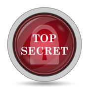 Top secret icon. Internet button on white background.. - stock illustration