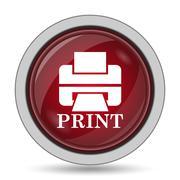 Printer with word PRINT icon. Internet button on white background.. - stock illustration