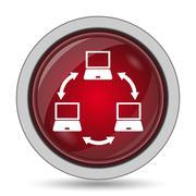 Computer network icon. Internet button on white background.. - stock illustration