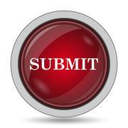 Submit icon. Internet button on white background.. - stock illustration