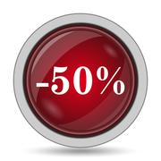 50 percent discount icon. Internet button on white background.. Stock Illustration