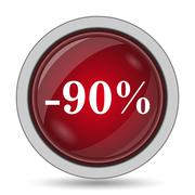 90 percent discount icon. Internet button on white background.. Stock Illustration