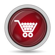 Shopping cart icon. Internet button on white background.. Stock Illustration