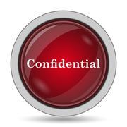 Confidential icon. Internet button on white background.. - stock illustration