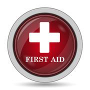 First aid icon. Internet button on white background.. - stock illustration