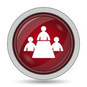 Meeting room icon. Internet button on white background.. - stock illustration