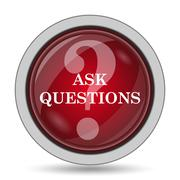 Ask questions icon. Internet button on white background.. - stock illustration