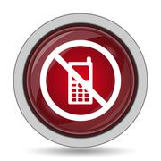 Mobile phone restricted icon. Internet button on white background.. Stock Illustration