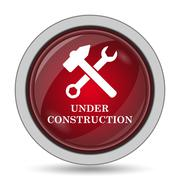 Under construction icon. Internet button on white background.. Stock Illustration