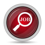 Search for job icon. Internet button on white background.. - stock illustration