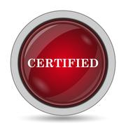 Certified icon. Internet button on white background.. Stock Illustration