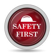 Safety first icon. Internet button on white background.. Stock Illustration