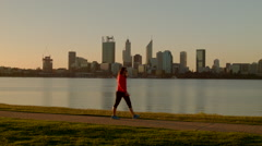 Women Walking Along The South Perth Foreshore - stock footage