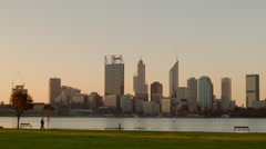 People Walking Along The South Perth Foreshore - stock footage