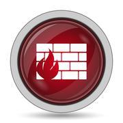 Firewall icon. Internet button on white background.. Stock Illustration