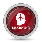 Learning icon. Internet button on white background.. - stock illustration