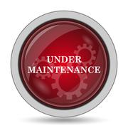 Under maintenance icon. Internet button on white background.. - stock illustration