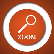 Zoom with loupe icon. Internet button on white background. . - stock illustration