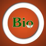 Bio icon. Internet button on white background. . Stock Illustration