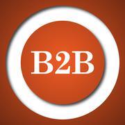 B2B icon. Internet button on white background. . Stock Illustration
