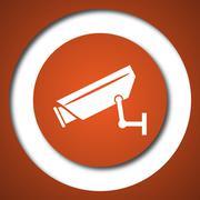 Surveillance camera icon. Internet button on white background. . - stock illustration