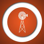 Classic windmill icon. Internet button on white background. . - stock illustration
