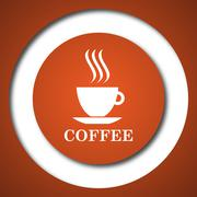 Coffee cup icon. Internet button on white background. . - stock illustration