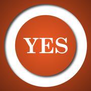 Yes icon. Internet button on white background. . Stock Illustration