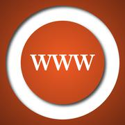 WWW icon. Internet button on white background. . - stock illustration
