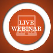 Live webinar icon. Internet button on white background. . - stock illustration