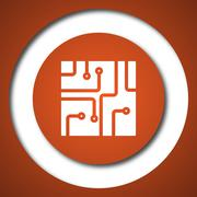Circuit board icon. Internet button on white background. . - stock illustration