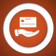 Hand holding credit card icon. Internet button on white background. . Stock Illustration