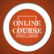 Online course icon. Internet button on white background. . - stock illustration