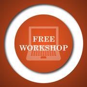 Free workshop icon. Internet button on white background. . - stock illustration