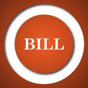 Bill icon. Internet button on white background. . Stock Illustration